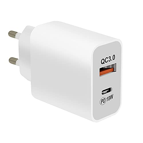 MMOBIEL Cargador Universal con Adaptador de Pared de 3A y 18W para Carga rápida USB Tipo C o USB Tipo A 3.0 para Smartphone y Tableta