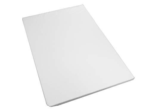 Cary Colchón para Cuna Viajera 60 x 90 cm Grosor de 4 centímetros, densidad media con Funda Protectora Afelpada, Impermeable y Absorbente Tipo microfibra, Blanco