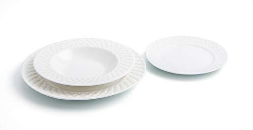Bidasoa Optical Vajilla de Porcelana Para 6 Personas, Superficie con Relieve, Blanco