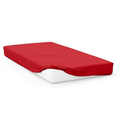 Soleil d'ocre Sábana Bajera Jersey de algodón 90x190 cm roja