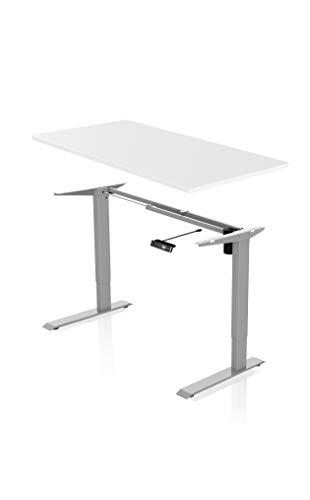 - AGIL - Ergonomischer Schreibtisch - Elektrisch Höhenverstellbar (Graues Gestell mit Weißer Tischplatte)