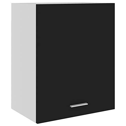Tidyard Küchenschrank 2 Regalböden Hängeschrank Küche Schrank Einbauküche Küchenzeile Küchenmöbel Oberschrank Spanplatte, Schwarz 50 x 31 x 60 cm (B x T x H)
