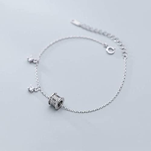BEWITCHYU Pulsera de Plata S925, Joyería de Mano con Anillo de Diamantes de Moda Japonesa para Mujer, Joyería de un Solo Diamanteplata