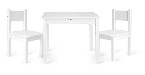 Leomark - Muebles Infantiles Para Cuarto de Los Niños - Conjunto de Una Mesa y Dos Sillas Madera de Estilo Escandinavo Clásico - Blanco