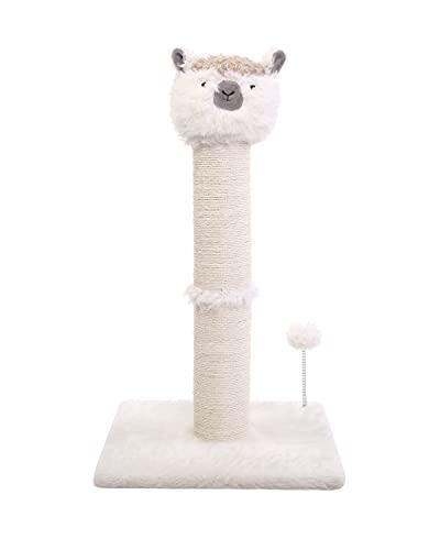 Poils bebe Kratzsäule Kratzbaum Holz, 77cm Katzen Kratzmöbel mit Sisalseil, Alpakaform Katzenbaum Stabil für kleine und mittlere Katzen