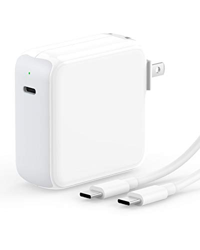 SZPOWER 65/61W USB C Charger Power Adapter Compatible with MacBook Pro 13, 15 inch, USBC New Air 13 inch 2020, 2019, 2018, 12 inch, Thunderbolt 3 Laptop Power Supply Type C, LED, 6.6ft USB C to C Cord
