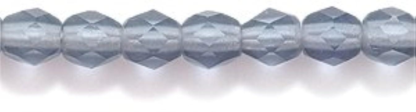 Preciosa Czech 4-mm Fire-Polished Matte  Glass Bead, Faceted Round, Transparent Montana Blue, 300/pack