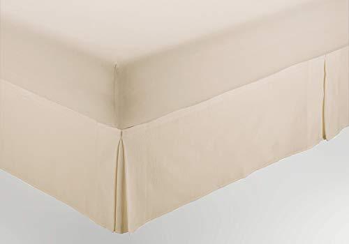 ESTELIA - Cubrecanapé de Hilo Tintado Color Crema - Cama de 160 (Alto 30 cm) - con Velcro Adhesivo - 50% algodón / 50% poliéster