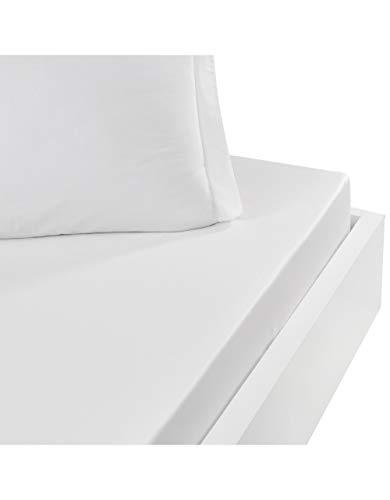 Sensei - Drap Housse Percale UNI - - Blanc, Coton, 90 x 200