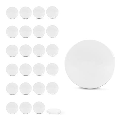 Rekean - Tapas herméticas blancas universales para botes de yogur de cristal - Diámetro 56 mm - Juego de 24 tapas de PVC - Tarros de mermelada para postres - Normas de conservación de alimentos
