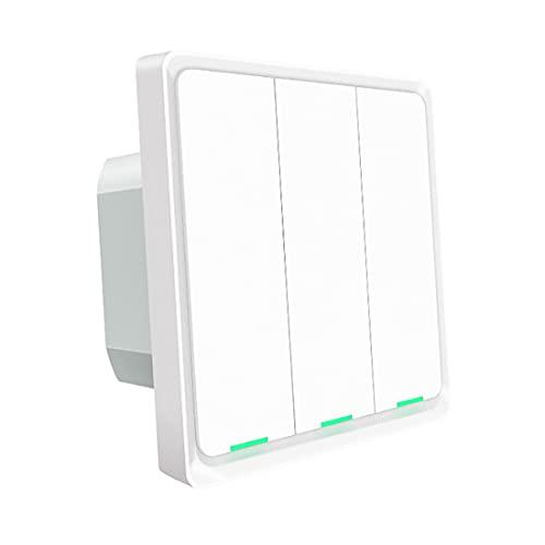 Interruptor de Pared Táctil Inteligente de Un Solo Polo 2 Gang 3 Way Multi-Control Panel de Interruptor de Luz Bluetooth Funciona con Smart Life/Tuya App Control Remoto Alexa Y