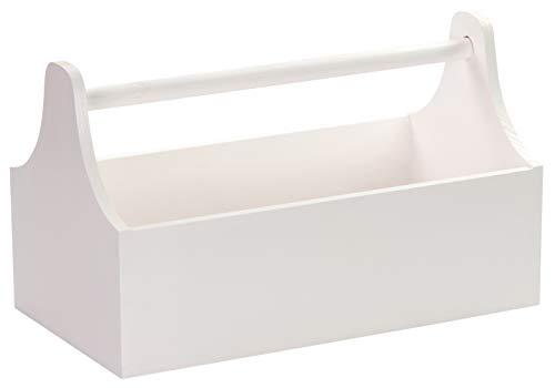 LAUBLUST Große Werkzeugkiste mit Griff - 34 x 18 x 20 cm, Weiß, FSC® | Aufbewahrungs-Kiste aus Holz | Geschenkverpackung | Blumen-Kasten | Dekobox | Bastel-Kasten | Spielzeugtrage | Flaschen-Korb