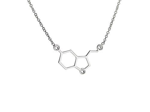 Aka Gioielli - Collana Felicità con Ciondolo Molecola Serotonina in Argento 925 Rodiato, per Donna e Ragazza