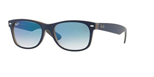 Ray-Ban RB2132 NEW WAYFARER 63083F 52M Matte Blue On Opal Brown/Clear Blue Gradient Sunglasses For Men For Women
