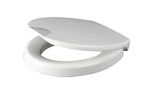 Grünblatt WC Sitz Health Care, Hygiene-Toilettensitz mit 5 cm Sitzerhöhung und Absenkautomatik, extra stabile Befestigung für maximale Sitzsicherheit, Duroplast, Weiß