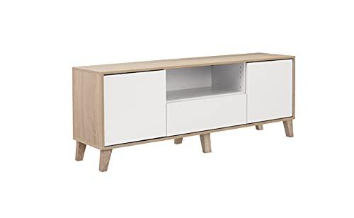 Mueble de TV para Salón Estilo Nórdico con 2 Puertas y 1 Cajón Medidas: 143x44x35 (AnxAlxFo)