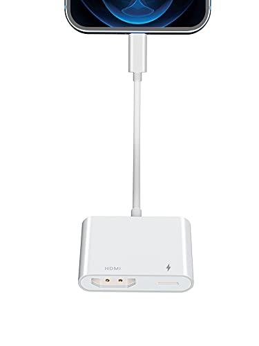 Adaptador HDMI para iPhone a TV, YEHUA Cable HDMI 1080P para iPad, Convertidor de Pantalla de Sincronización para iPhone 12/11 / SE/XS/XR/X / 8/7 / Pad a HDTV, Proyector, Monitor