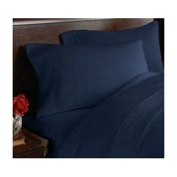 AVI Set of 2 Solid Cotton 300 TC Pillow Cover, Dark Blue (20 * 36in)