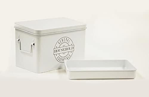 AQ Organizational Divided Metal Tin Removab w Caddy Popular Max 75% OFF standard Hinged Lid