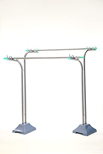 [ハンガーボード] 屋外 風に強い 組み立て不要 オールステンレス 物干し台 段違い 穴分離型 2穴 ベースセット CF-2 (プラスチックカバーベース グレー)