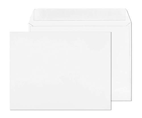 EnDoc 10x13 Open Side Envelopes - Bright White color Booklet 10 x 13 Gummed Seal Envelope, 28lb. Heavyweight Paper For Home, Office, Business or School - 50 Pack