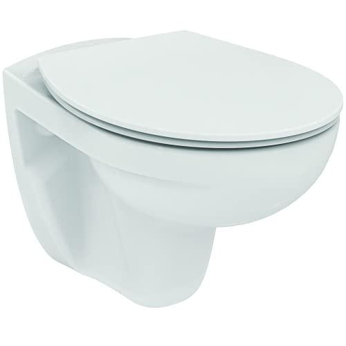 Ideal Standard TIRSO Pack wc suspendu Blanc, Cuvette sans bride, Abattant avec Frein de chute pour une fermeture douce et silencieuse, Résistant et Facile à nettoyer, R034301