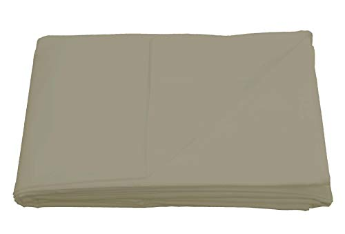Sleepdown Taupe Plain Flat Sheet Non-Iron 180 Thread Count Percale Poly Cotton Easy Care Bedsheet Bed Linen - Double
