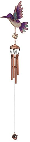"""StealStreet SS-G-99363 Copper Toned Wind Chime with Purple Hummingbird in Flight, 22.5"""""""