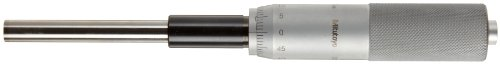 Mitutoyo 151-226 Micrometer Head, Middle Size, Heavy Duty, 0-25mm Range, 0.01mm Graduation, +/-0.002mm Accuracy, Plain Thimble, Clamp Nut, Flat Face, Spindle Lock