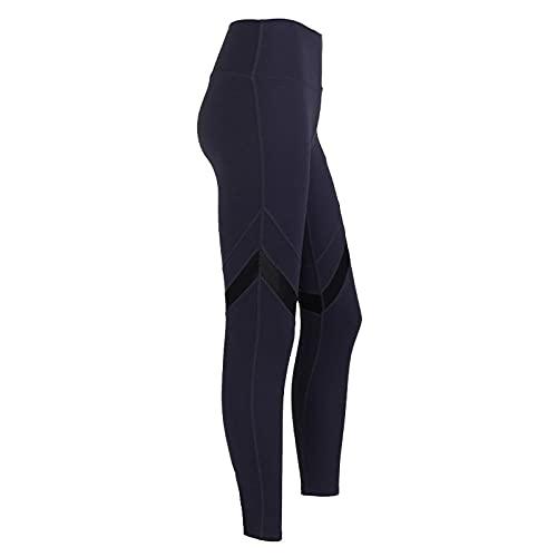 Leggings Mujer Push Up,Europa y los Estados Unidos New Mesh Splicing Slim Stretch Fitness Pantalones de cintura altas caderas desnudas desnudas Pantalones de miel Mujeres-Goasto profundo azul_S