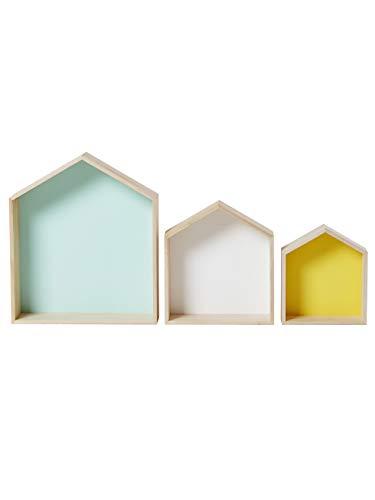 Vertbaudet 3er-Set Wandregale in Hausform, Setzkasten türkis+weiß+gelb ONE Size