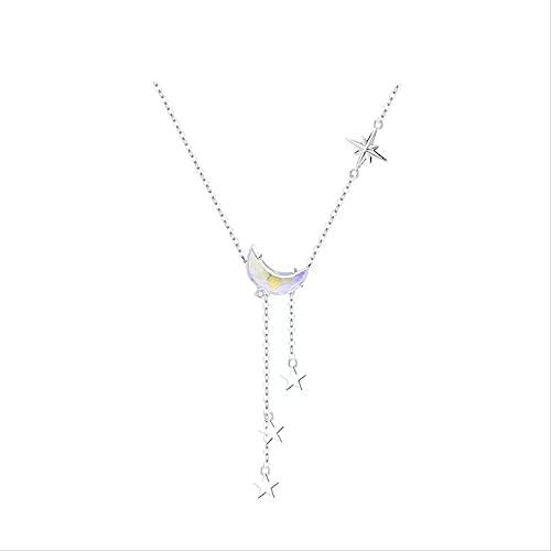 ZHUDJ 925 Plata esterlina Borla Cristal Luna Estrella abalorio Colgante Gargantilla Collar para niña Mujer joyería de Boda