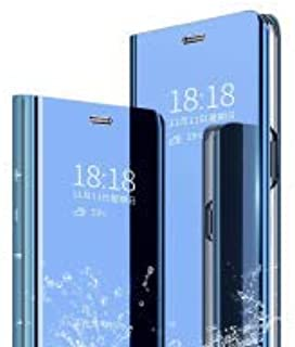 PICKQIU Case for Xiaomi Mi Mix Alpha, With Auto ON/OFF Function Translucent Cover [Smart Case] [Stand Case], Ultra Slim PC Mirror Flip Cover PU Leather Magnetic Protective Cover -Blue