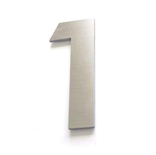 Numeros para casa -11cm 4inches – Aluminio Cepillado – Numeros Residenciales (Numero 1)