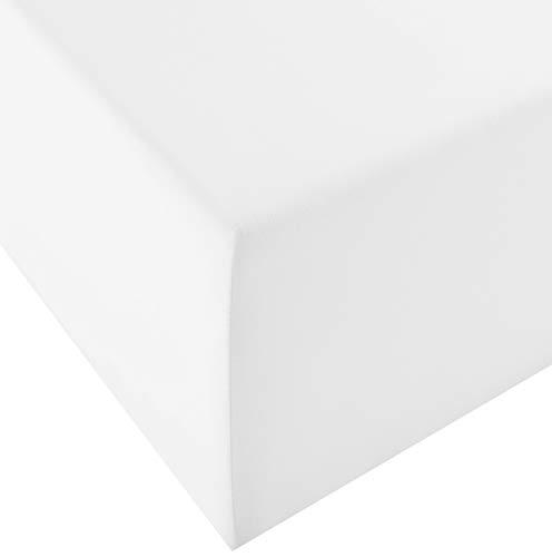 fleuresse 1119 XXL Jersey Stretch Spannbetttuch (96 Prozent Baumwolle, 4 Prozent Elasthan), mit Rumdumgummizug, Ökotex 100, für Matratzen bis 40 cm Höhe, 90 x 190 - 100 x 220 cm, weiß