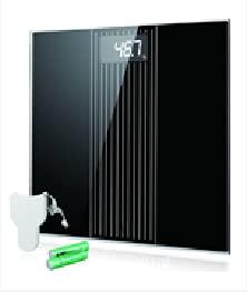 Báscula Baño, Báscula Electrónica de Alta Precisión con Plataforma Transparente y Pantalla LCD Retroiluminada, 180 kg / 400lb, Incluida Cinta Métrica y 2 Baterías AAA, Negro