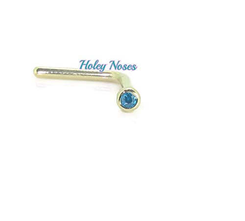 Holeynoses 9ct Gold 1mm Micro Gem Created Cz Range Nose Stud