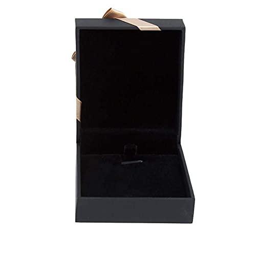 Toque Papel Tie Jewelry Gabinete Flor Anillo Caja Collar Colgante Pulsera Joyería Joyería Joyería Caja TINGG (Color : Black Tie, Size : 7 * 8 * 3cm Anhngerbox)