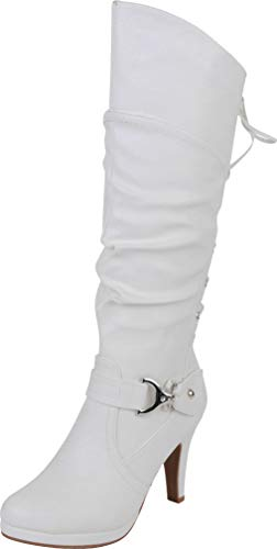 TOP Moda Womens Page-65 Knee High Round Toe Lace-Up Slouched High Heel Boots (7, White)