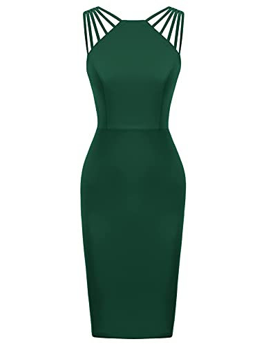 GRACE KARIN Women V-Neck Sleeveless Cocktail Midi Dress Formal Evening Dresses Dark Green L
