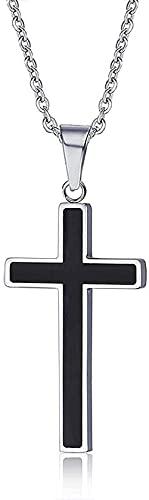 NC198 Collar con Colgante, Collar con Colgante de Cruz Negra para Mujeres, Hombres, Regalo, joyería de Acero Inoxidable