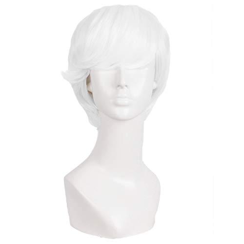 MapofBeauty 10 Pouce/25cm Hommes de la mode Cheveux bouclés courts de jeu de rôle Perruque (Blanc)