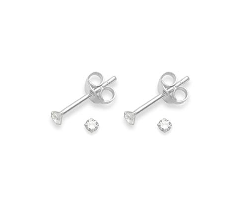 Heather Needham Silver Set of 2 PAIRS Sterling Silver Cubic Zirconia stud Earrings - SIZE: TINY 2mm - Very Small & discreet - see PHOTO IN EAR FOR SIZE!!!. Only GENUINE if bought from HEATHER NEEDHAM.5549CL