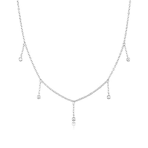 Plata De Ley 925 Chapado En Oro Granate Medalla Collar Colgante De Cubierta Azul CircónEncanto Collar Largo Collar Joya Plata-2
