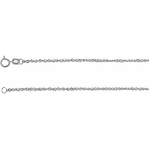 Pulsera Singapur de oro blanco de 14 quilates de 17 1/2 cm pulido con anillo de primavera joyas regalos para mujeres