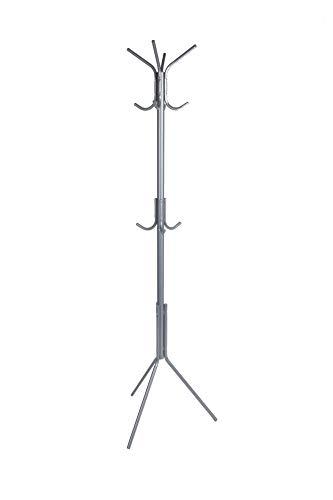 Mind Reader CRACK11-SIL Metal Coat Hat Hanger 11 Hook for Jacket, Purse, Scarf Rack, Umbrella Tree Stand, Lightweight, Silver