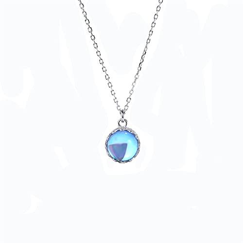 YNING Collar Femenino/Colgante de Collar de Cristal de Corona Original/Plata de Ley S925 / Longitud de Cadena Ajustable/Regalo para Niñas, Novias, Buenos Amigos