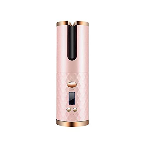 Cordless Automatic Hair Curler Draagbare Oplaadbare Curling Iron Curls Golven LCD-scherm Keramisch Krullend Roterend Curling (Color : Pink)