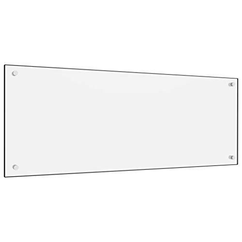 vidaXL Küchenrückwand Spritzschutz Fliesenspiegel Glasplatte Rückwand Herdspritzschutz Wandschutz Herd Küche Weiß 100x40cm Hartglas