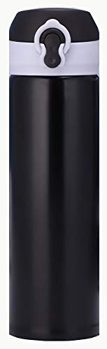 Thermoses Beverage Bottle Coffee Travel Mug Vacuum Insulated Compact Stainless Steel Water Cup Cold & Hot (500 ml, Black)